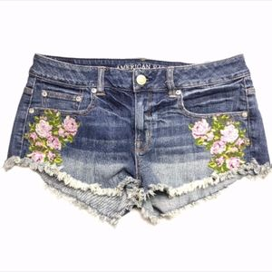 American Eagle Distressed Embroidered Denim Shorts